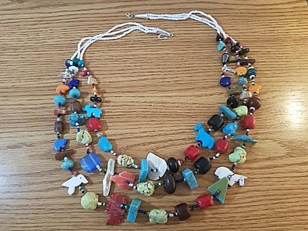 """Native American Treasure Necklace 27"""" -3 Strand"""