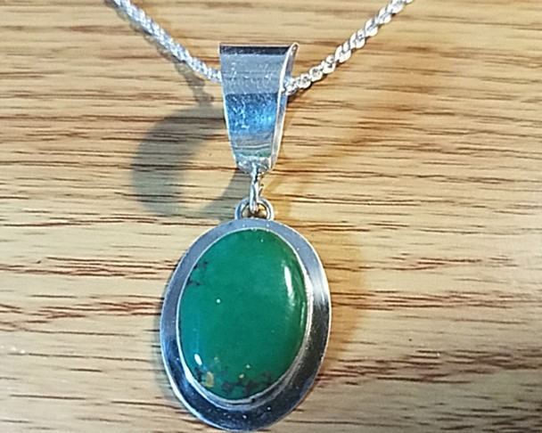 """Native American Sterling Silver Pendant Necklace 20"""""""