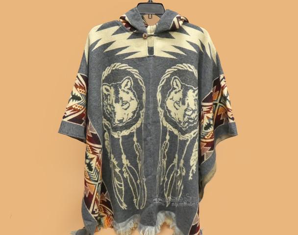 Mexican Blanket Poncho - Dreamcatcher Wolf