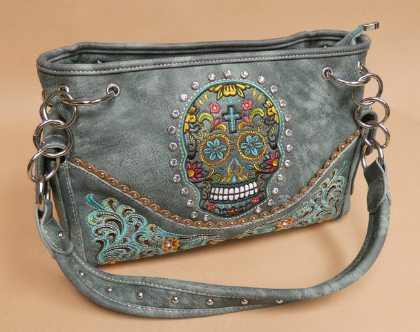 Day of the Dead Sugar Skull Purse - Turquoise