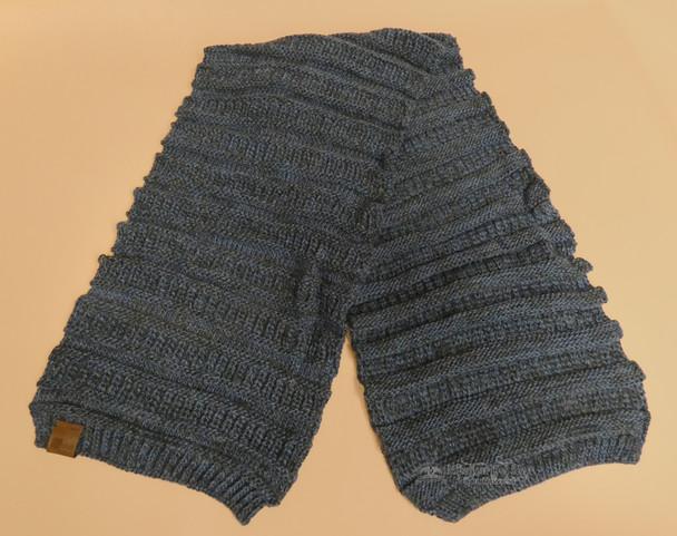 Knitted Alpaca Wool Scarf -Blue/Grey