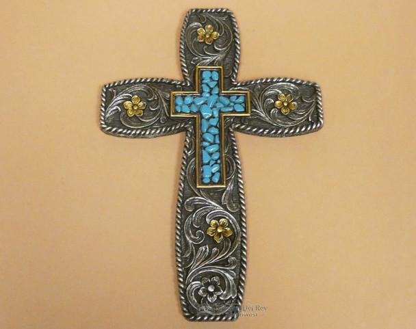 Rustic Turquoise & Flowers Cross