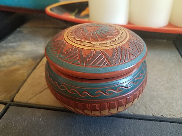 Navajo Etched Pottery Jewelry Box