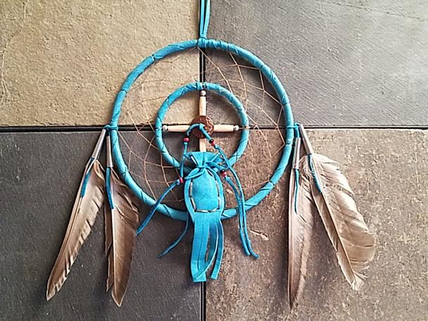 Native American Medicine Wheel Dream Catcher -Turquoise