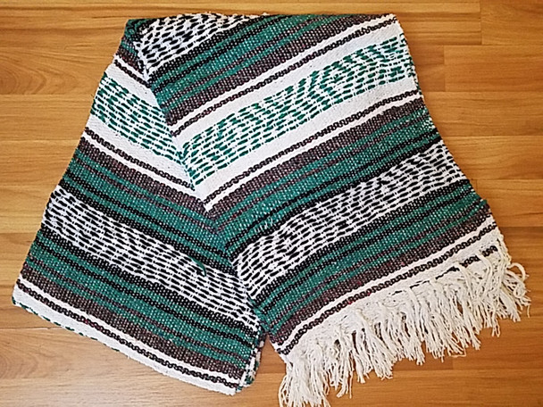 Traditional Mexican Falsa Blanket -Teal