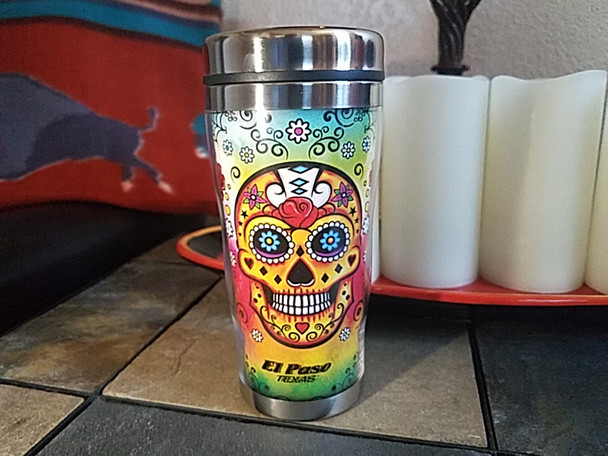 Day of the Dead Travel Mug 16oz. -Sugar Skull