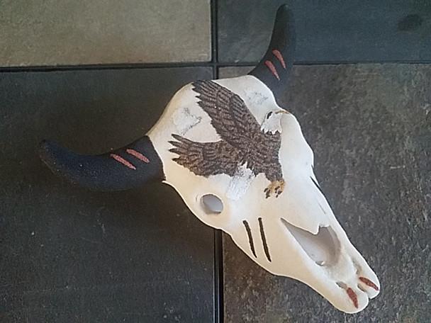"""Navajo Sand Painted Skull 6"""" -Eagle"""