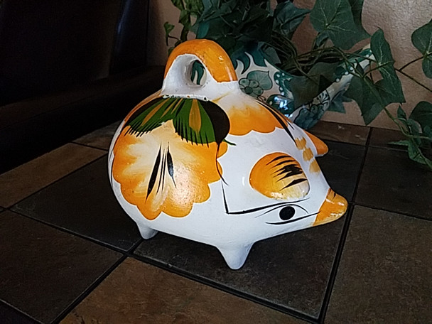 Mexico Hand Painted Clay Piggy Bank