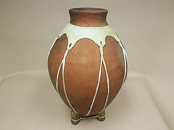 Rustic Tarahumara Hand Coiled Clay Pottery Vase -Natural
