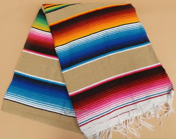 Southwest Mexican Serape Fire Blanket 5'x7' -Tan