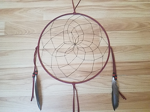 "Native American Navajo Dream Catcher 12"" -Burgundy"