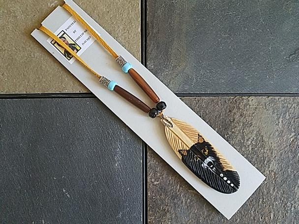 Navajo Deer Skin hand painted bone feather Necklace
