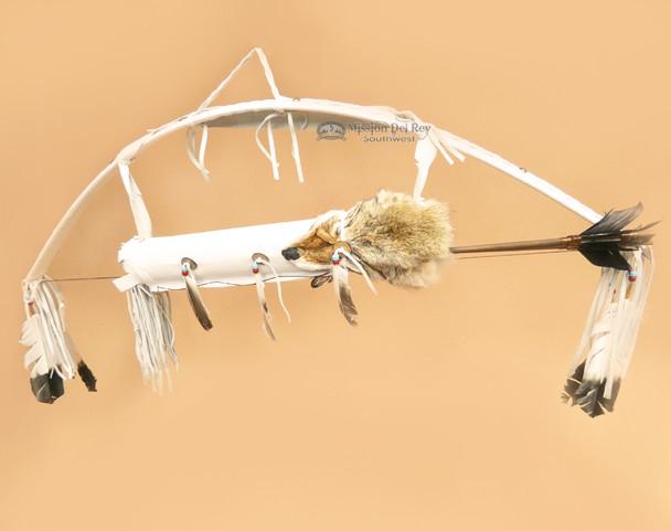 White Coyote Pelt Quiver, Bow & Arrow Set