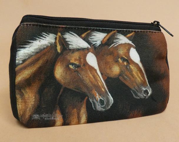 Western Digital Print Cosmetic Bag -Stallions