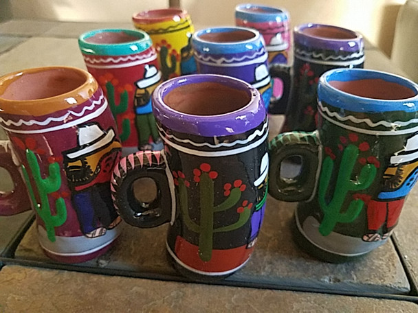 Bulk Hand Painted Mexican Clay Handled Shot Glasses