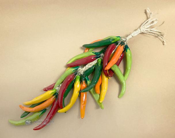 Multicolored Ceramic Chili Ristra -Mira Ciello
