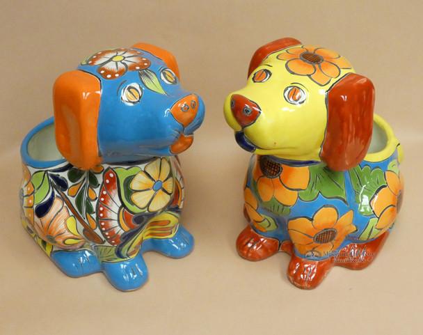 Hand Painted Talavera Dog Planter