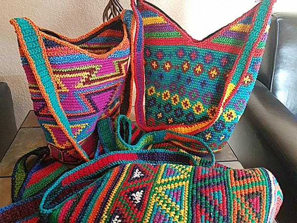 Geometric Crocheted Guatemalan zippered Purse