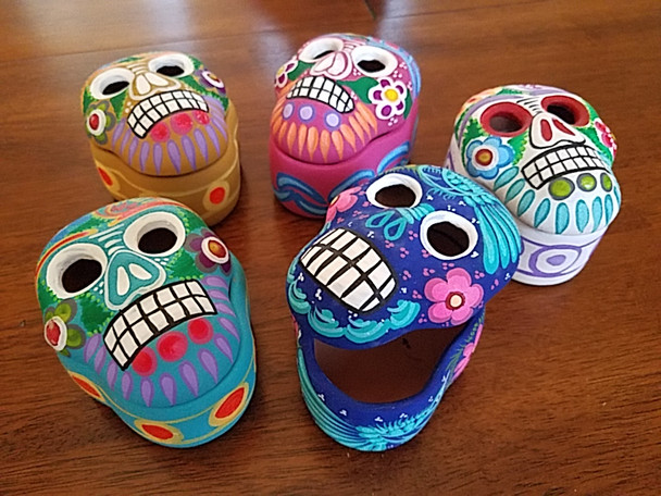 Assorted Mexican Hand Painted Clay Jewelry Boxes