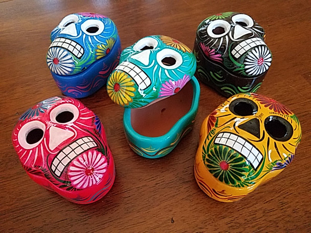 Assorted Mexican Hand Painted Clay Skull Jewelry Boxes