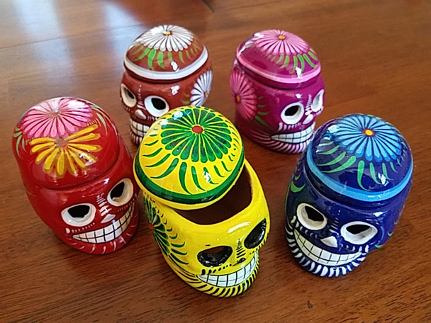 Assorted Mexican Hand Painted Clay  Boxes