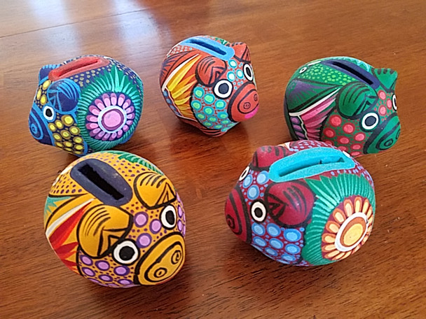 Assorted Mexican Hand Painted Clay Piggy Banks