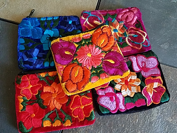 Assorted embroidered velvet coin purses in assorted colors