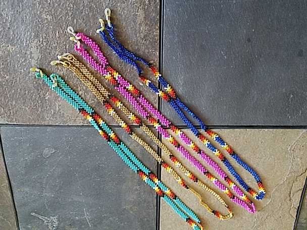 Assorted beaded glasses lanyards in assorted colors and designs
