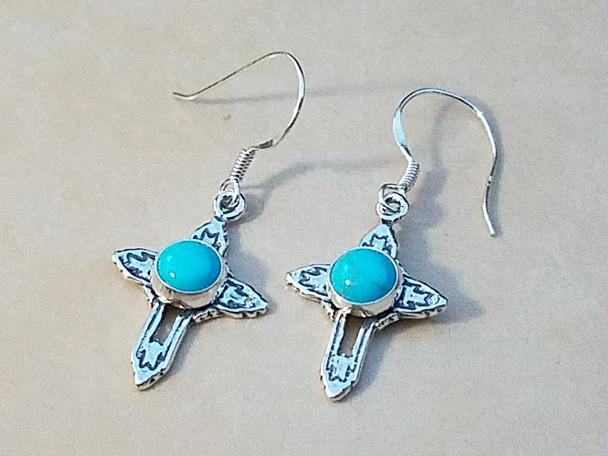 Southwest Sterling Silver Earrings -Cross