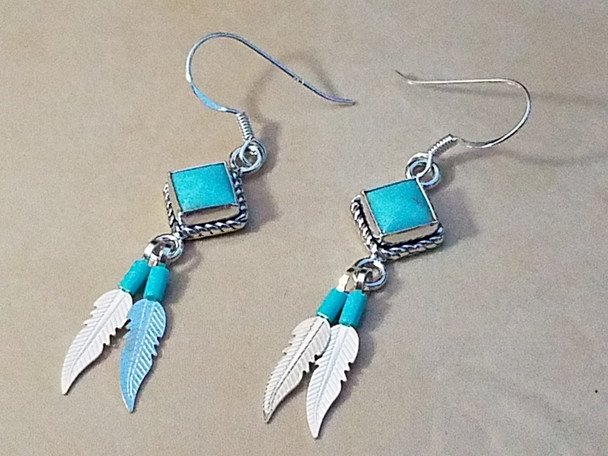 Southwest Sterling Silver Feather Earrings
