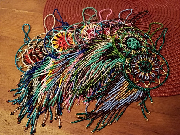 Assorted Seed Bead Dream Catcher Ornaments