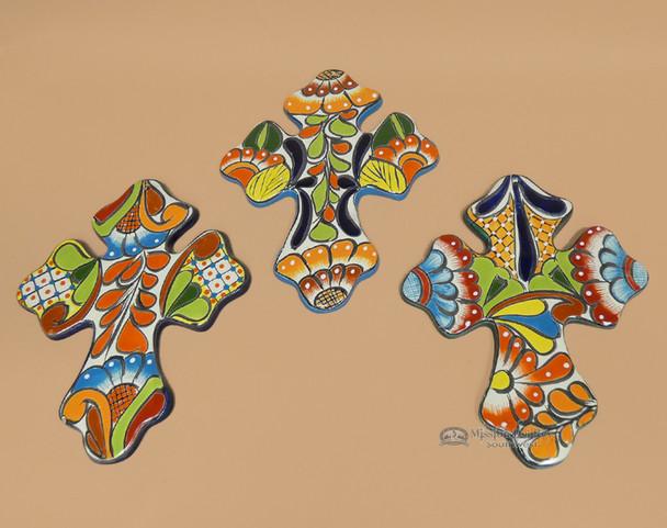 "Assorted Hand Painted Talavera Cross 13.5"""