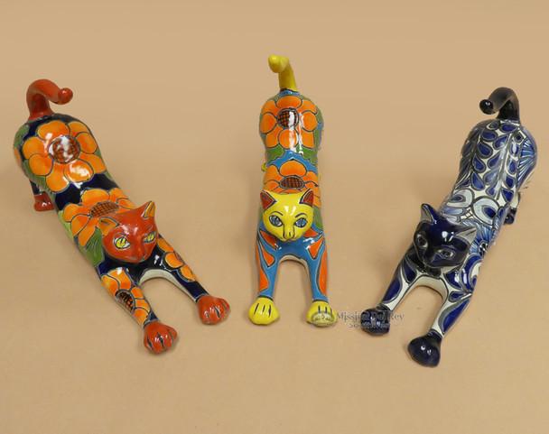 Hand Painted Talavera Stretching Cats