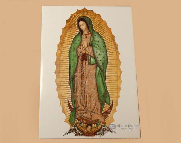 "Ceramic Virgin de Guadalupe Tile 18"""
