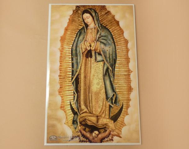 "Ceramic Virgin de Guadalupe Tile 16"""