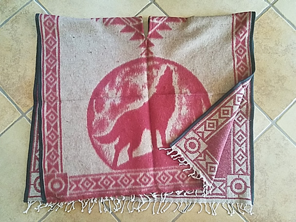 Mexican Style Wolf Blanket Poncho -Burgundy