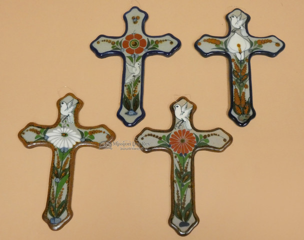 Assorted Hand Painted Mexican Ceramic Crosses