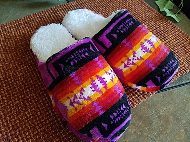 Southwestern Plush Slippers -Purple
