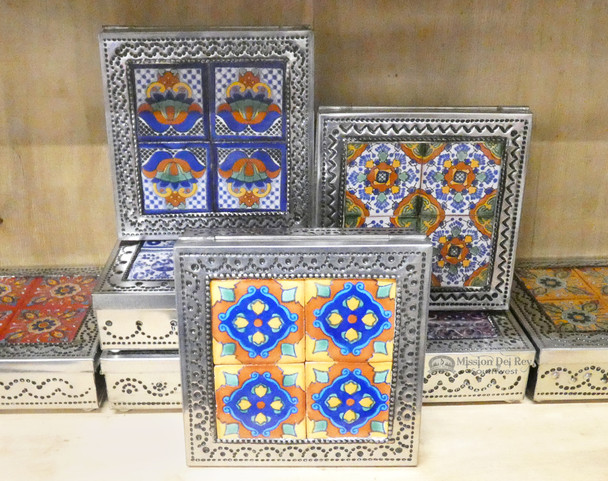 Assorted Handcrafted Tin & Talavera Jewelry Boxes