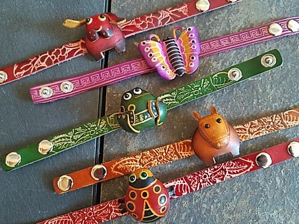 Assorted Tooled Leather Bracelets -Animals