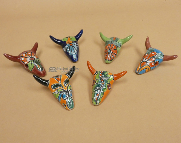 Hand Painted Mexican Talavera Steer Skull Magnets