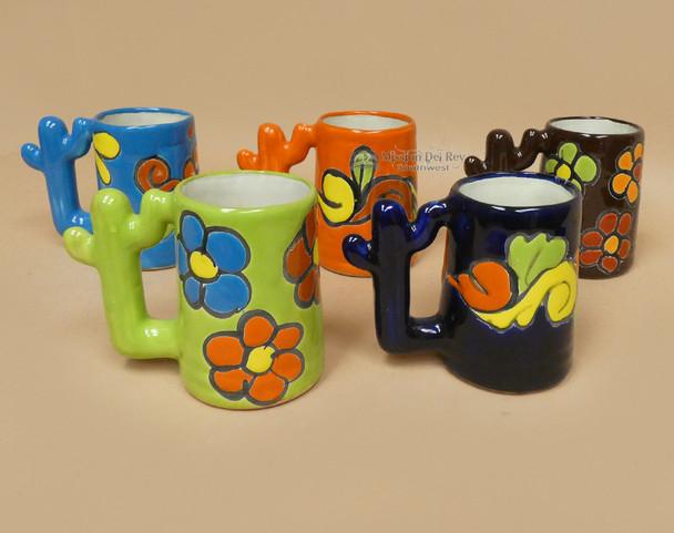 Assorted Cactus Handle Hand Painted Talavera Mugs