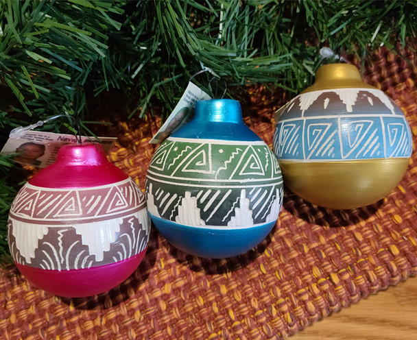 Set of 3 Hand Etched Navajo Ornaments