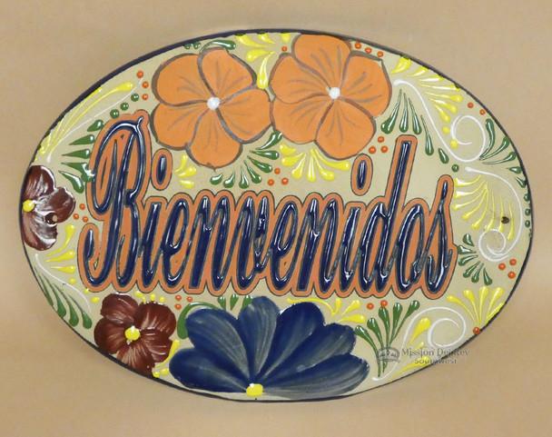 Hand Painted Talavera Sign -Bienvenidos