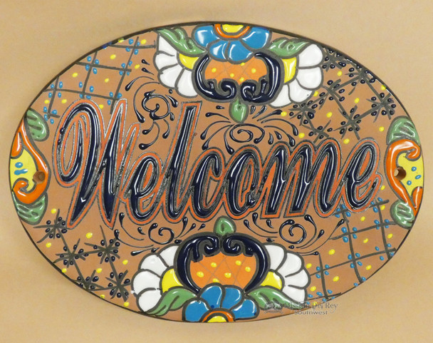 Hand Painted Talavera Sign -Welcome