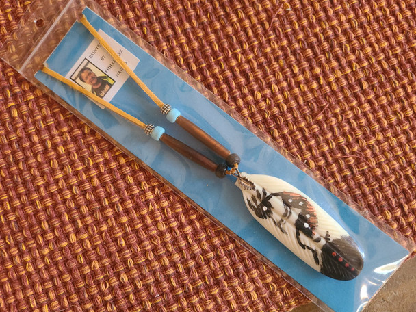 Navajo Deer Skin hand painted bone feather Necklace -Kokopelli