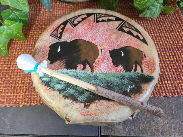 "Hand Painted Frame Drum 10"" -Buffalo"