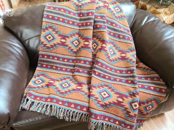 """Southwestern Throw Blanket 50""""x60"""" -Luna"""