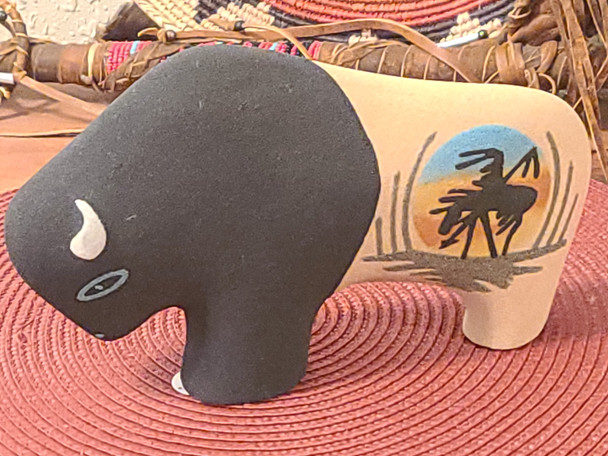 Handcrafted clay sand painted pottery buffalo