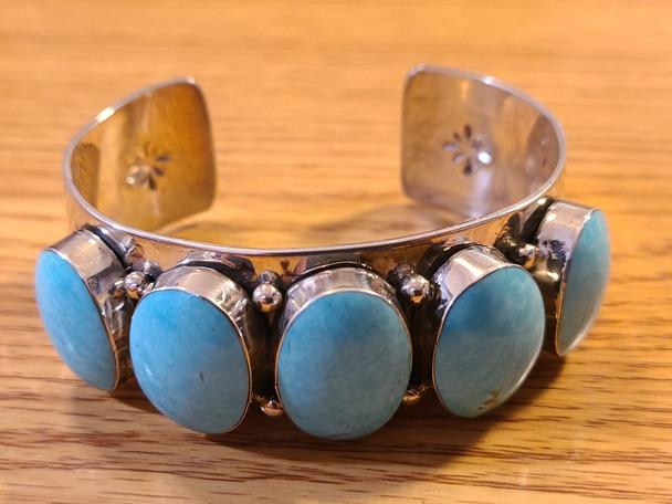 Southwest Navajo Silver & Turquoise Cuff Bracelet
